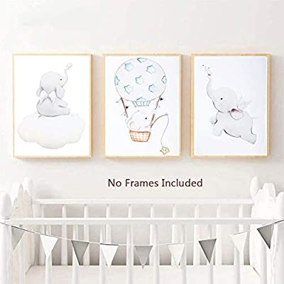 "TIICA Unframed Baby Flying Elephant Nursery Decor Wall Prints, Little Elephants Art Print Baby Room Decor, Watercolor Kids Room Decor for Girls Boys, Baby Wall Decor, Set of 3, 8""x10"""