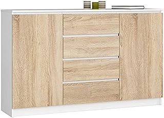 ADGO Commode moderne K160 2DSZ avec 2 placards et 4 tiroirs L 160 x P 40 x H 99 cm Chambre Salon Couloir Mat (livraison en...