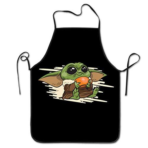 Lawenp Delantal de cocina para mujeres, hombres, niños, niñas, babero ajustable impermeable para cocinar/barbacoa/hornear/artesanía/jardinería/restaurante/bar (Mmm Yummy Baby Yoda el mandaloriano)