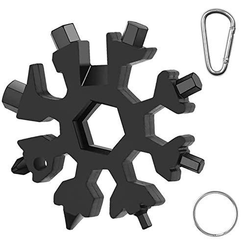 GRESATEK 18-in-1 Schneeflocken-Multifunktionswerkzeug mit Schlüsselanhänger und Karabiner, Edelstahl, tragbarer Schneeflocken-Schraubenschlüssel für Outdoor-Reisen, Camping, Abenteuer