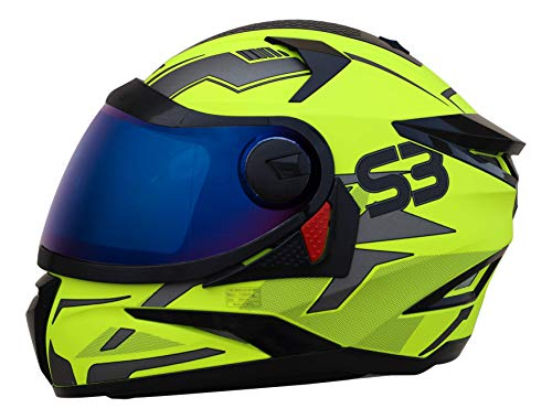 Steelbird SBH-17 Terminator Full Face Graphic Helmet (Large 600 MM, Glossy Fluo Neon Helmet Fitted with Clear Visor and Extra Blue Visor)