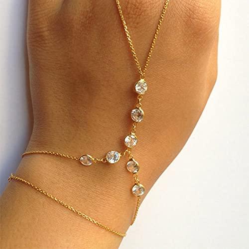 XKMY Handkette mit Ring, Damen-Armband, Modeschmuck, Gold/Silber, Strass-Armband & Armreif, Handkette, zierliches Handaccessoire für Frauen (Metallfarbe: Silber)