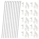 10 PCS 0.047x10.24 Steel Pushrods and 10 PCS Nylon 0.79x0.43 Lock on Control Horns 4 Holes for RC Airplane Model Aircraft DIY Parts