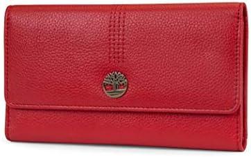 Timberland Leather RFID Flap Wallet Cluth Organizer, Billetera para Mujer, Cereza (Guijarro), Talla de un Talla