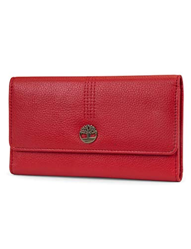 Timberland Leather RFID Flap Wallet Clutch Organizer, Cherry (Pebble)