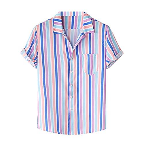 Camisa de verano para hombre, de manga corta, con botones, bolsillo frontal, estampado hawaiano, para el tiempo libre D_Lila XXL