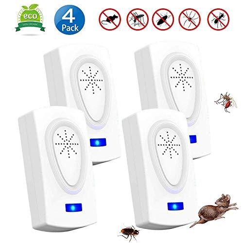 Ultraschall Schädlingsbekämpfer, 4 Stück Elektronische Moskitoschutz Innenräumen Pest Control Repeller für Kakerlaken,Mäuse,Fliegen,Mücken, Spinnen 100% sicher für Menschen und Haustiere