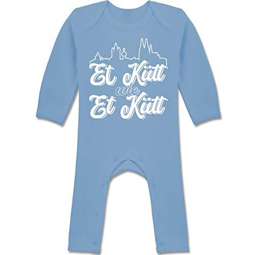 Shirtracer Karneval und Fasching Baby - Et Kütt Wie Et Kütt Weiß Köln Silhouette - 12/18 Monate - Babyblau - BZ13 - Baby-Body Langarm für Jungen und Mädchen