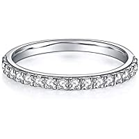 Jansme 0.3ct of Moissanites.White Gold Plated Wedding Bands for Women (Sterling Silver)