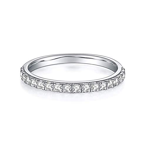 Moissanite Wedding Band,Wedding Rings for Women Set with VVS DEF Small Sparckly, 0.3ct of Moissanites.White Gold Plated Wedding Bands for Women in Sterling Silver