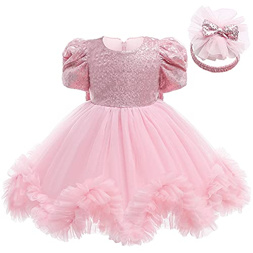 LZH Neonate Dress Pageant Paillettes Mesh Tull Dress Wedding Party Bowknot Abito Formale in Pizzo con Copricapo,Rosa, 2-3 Anni