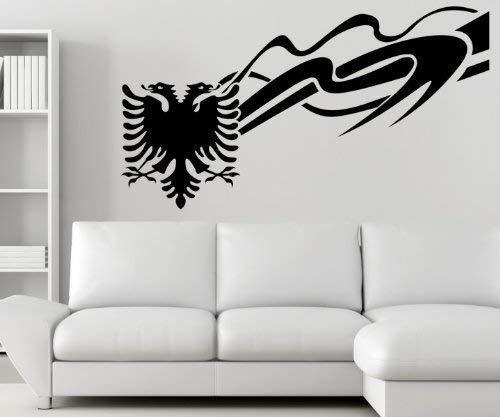 myDruck-Store Wandtattoo albanischer Adler Albanien Shqiponjë Wand Wandsticker Aufkleber 5U002, Farbe:Schwarz Matt;1x Länge:140cm