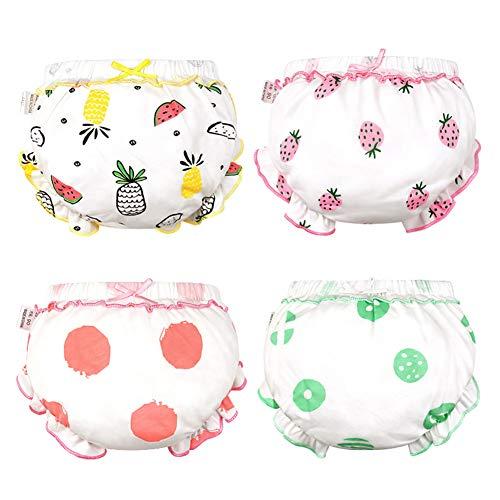 4 Paquete para bebé niño del bebé de la colmena Bloomer Pantalones cortos transpirables cubiertas de algodón del pañal - Frutas preciosas