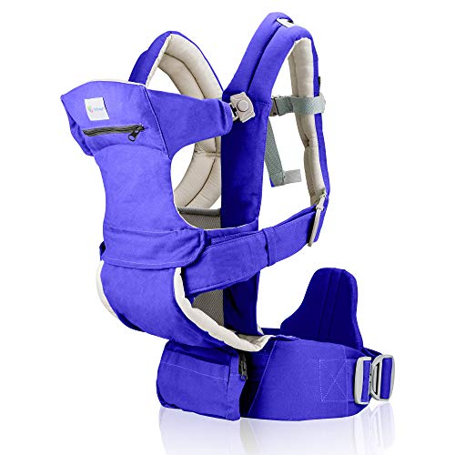Baby Carrier for Men & Women - All Carry Positions Baby Carrier - Infant Carrier - Backpack Baby Carrier -Hiking Baby Carrier - Cotton (Navy Blue)