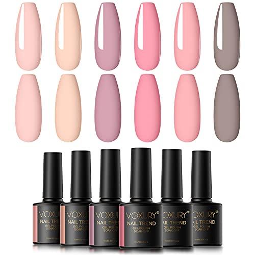 VOXURY Esmaltes Semipermanentes de Pastel Uñas en Gel UV LED, 6pcs Colores Rosa Nude Kit de Esmaltes de Uñas en Gel 10ml