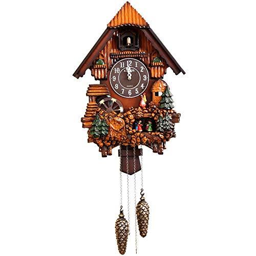 Reloj de Pared de Cuco de Madera de con Volumen Ajustable, Sensor de Noche, Reloj de Cuco, decoración del hogar del Reloj de la Pared del péndulo de Cuarzo