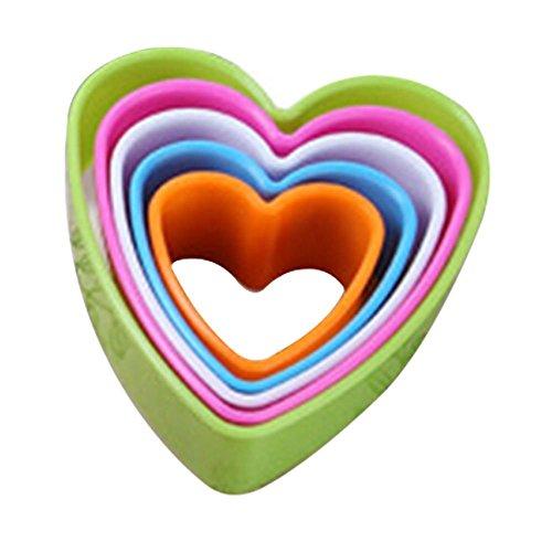 Zhouba, set di stampini per cucina, ideali per dolci, torte e biscotti, confezione da 5 pezzi, plastica, Cuore, Heart*