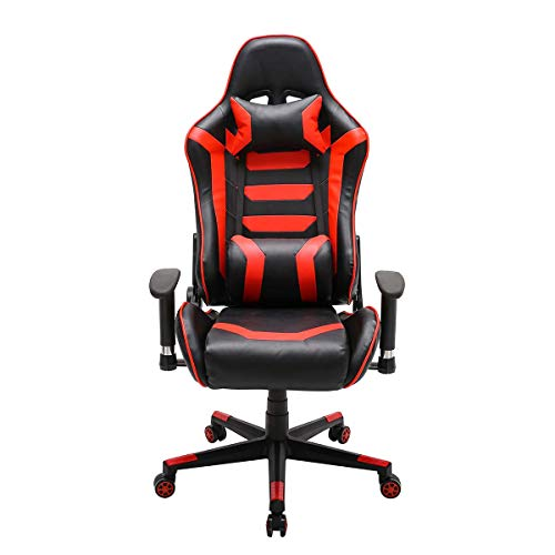 LEPAK Reclining Sports Racing Gaming Office Chair,High-Back PU Leather Ergonomic Executive Swivel Chair with Lumbar Pillow and Headrest Support