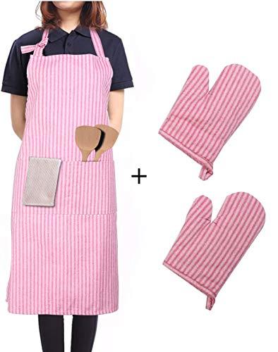 LessMo Schürze mit Handschuhe, aus 100% Baumwolle, Kochschürze und Grillschürze in Profiqualität mit verstellbarem Nackenriemen, 70 x 80 cm(Rot)