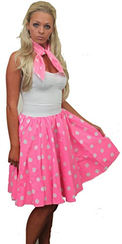 The Dragons Den Full Circle Skirt FREE neck tie X-Large Plus Size (hot pink with white dot)