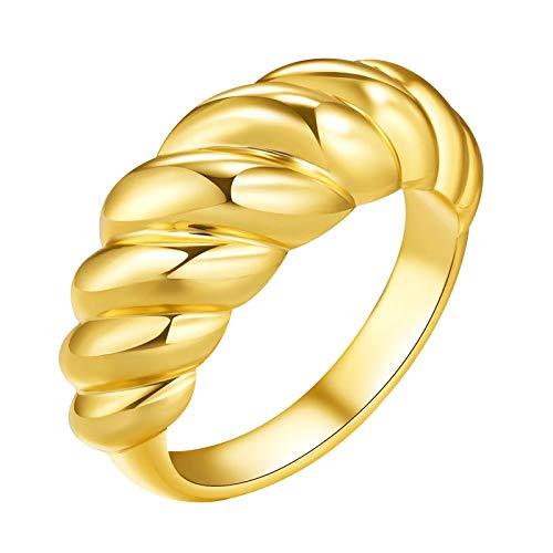 Moent Anillo de rosca para hombre y mujer, diseño retro, chapado en oro, regalo de San Valentín, aniversario