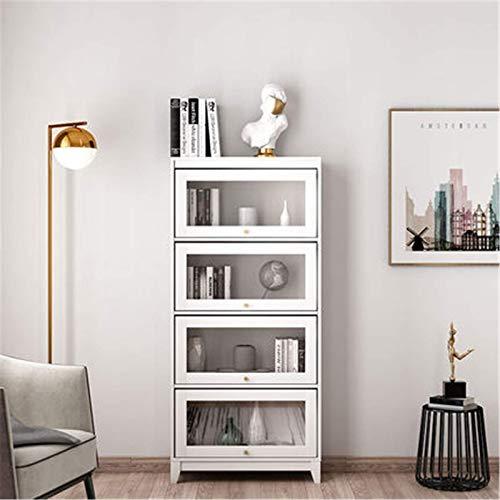 COLiJOL Boekenplank Boekenkast met glazen deur opbergkast Nordic vloer tot plafond boekenkast woonkamer opbergkast smalle slaapkamer kast geschikt voor thuiskantoor, wit, 60x30x213,8 cm