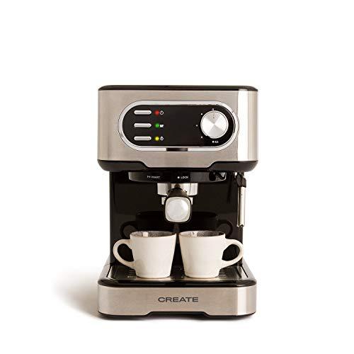 IKOHS THERA Easy Latte - Cafetera Express Semiautomática 20b, para Espresso, Cappucino, Macchiato, 1100W, Vaporizador Orientable,Capacidad 1,5l, Bandeja Goteo Extraíble, Bandeja Calienta Tazas