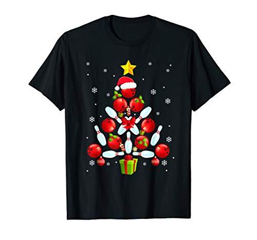 Funny Bowling Christmas Tree Light Bowling Pins & Balls Gift T-Shirt