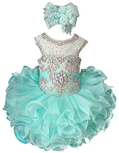 M_RAC Baby Girl's Crystal Lace Pageant Cupcake Dresses for Toddler Short Mini Birthday Party Gowns 6M Mint