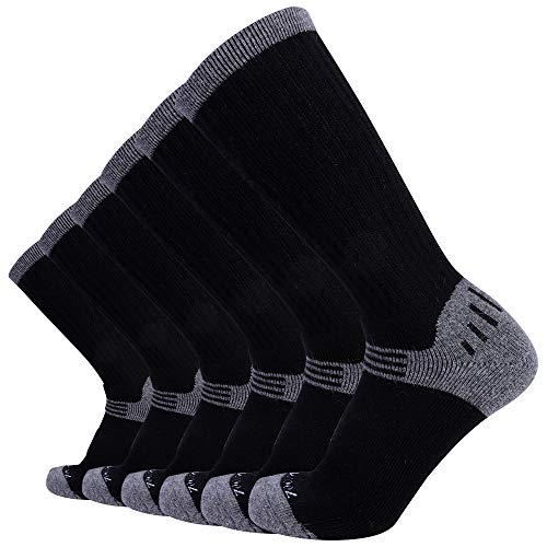 Enerwear-Coolmax 6P Pack Men's Merino Wool Blended Outdoor Trail Socks (US 10-13, Black)