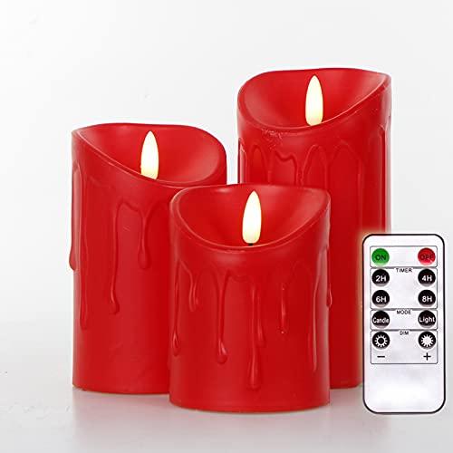 Simulation Candle 3 pcs/Set Remote Control LED flameless Candle Battery Lifelike 3D Dynamic Flame Candle Light Tea Light Home Decoration (Simulation White)