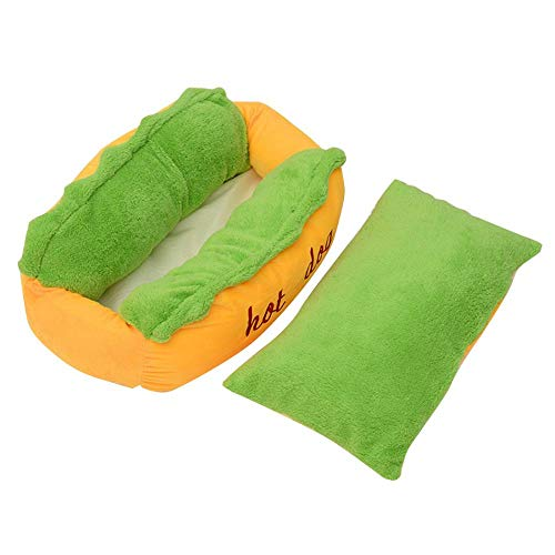 XUDREZ ペットベッド ペットソファ 猫用 犬用ベッド 寝床 通年タイプ クッション付き カバー取り外し可能 洗える 柔らかい 可愛い ホットドッグ型 中小型犬/猫用 (72cmx62cmx23cm)
