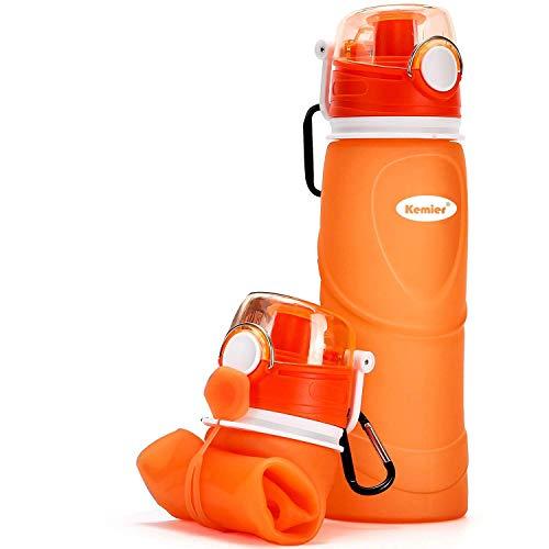 Kemier Botellas de Agua de Silicona Plegables–750ML,Calidad Médica Libre de BPA,Aprobado por FDA.Enrollarse,Botellas de Agua Plegables a Prueba de Fugas para el Aire Libre y Deportes(Naranja)