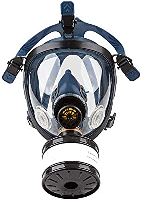 Protective Gas Masks with Dual Filters, Full Seal Protection Rubber Respirator Eye Protection Respiratory Protection, for Paint Sprayer, Woodworking