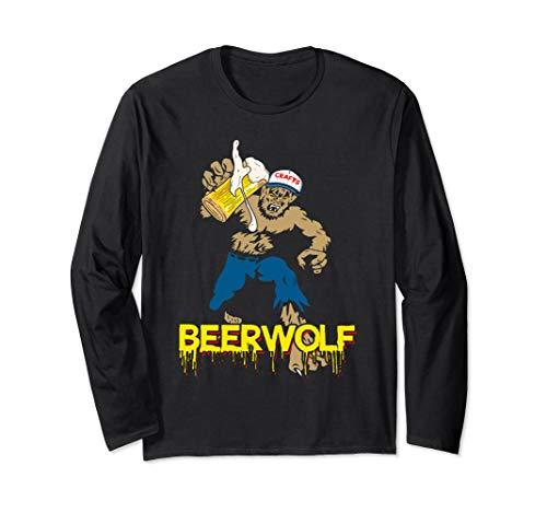 BeerWolf - Wolf mit Becher Bier Lustiges Halloween-T-Shirt Langarmshirt