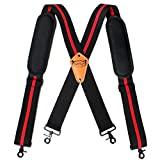 Melo Tough Tool Belt Suspenders Tool Harness for Heavy Duty Work Movable shoulder Pads, Quick lobster clasp Tool Belt (Red Strip)