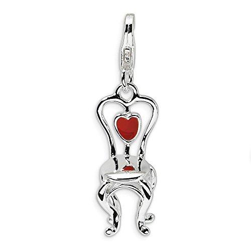 Adornica Diamonds 925 sterlingsilber-3-d enameled Stuhl mit Herzen mit Hummer-Haken-Charme