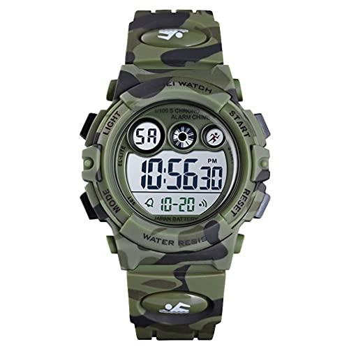 Greatangle-UK Relojes Deportivos Digitales Relojes Impermeables al Aire Libre con Alarma Cronómetro Calendario Reloj de Pulsera Relojes electrónicos Camuflaje Verde 42 * 38 * 14 mm