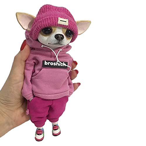 Cute Fashion Animal Resin Dolls,Chihuahuas Resin Fashionable Animal Doll Sculptures,Creative Home Crafts for Christmas,Halloween Children's Bedroom, Living Room Decorations (D)