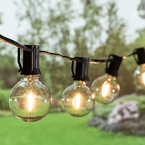 Outdoor G40 Globe String Lights 25ft LED Patio String Lights Waterproof with 27 Dimmable Plastic Bulbs (2 Spare) Outside Vintage Hanging Lights for Patio Deck Pergola Backyard Bistro Party Wedding