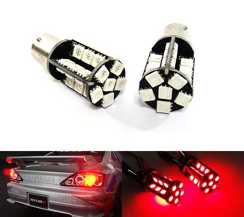 Lot de 2 ampoules à baïonnette 30 LED rouges 382 P21W 1156 BA15s pour feux de position, clignotants, feux arrière, feux stop, feux de brouillard