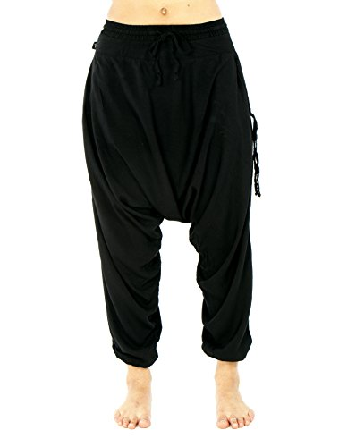 Buddha Pants Womens Harem Pants Black Savannah Flair (XX-Small)