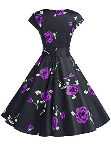 Dressystar Vintage Kleid 50er Jahre Rockabilly Swing Schwarz Rot Dot - 3