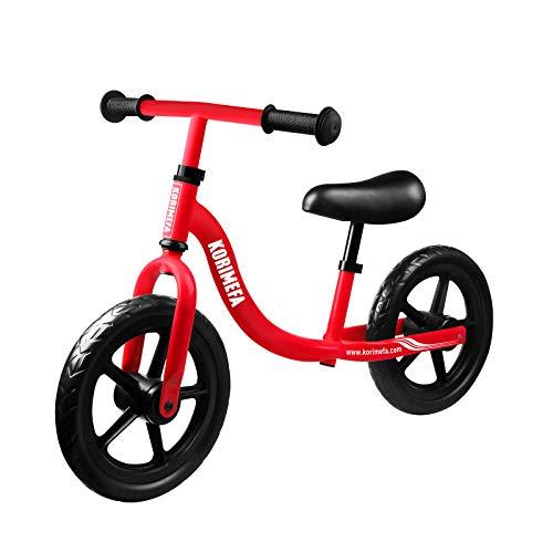 子供用 ラーナーバイク ペダルなしバイク 幼児 2歳-5歳 超軽量 炭素鋼製 キックバイク トレーニングバイク 高さ調整可 組み立て簡単(レッド)
