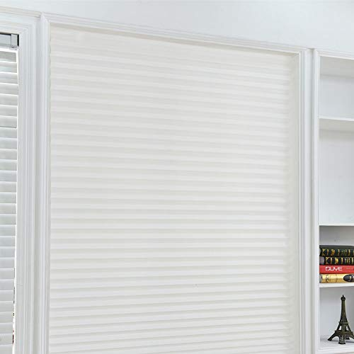 Yooha Pleated Blind, Non-Woven Blackout Curtain Pleated Blind for Balcony, Kitchen, Multi-Size Affordable Instant Pleated Blind, Easy to Install(60150,White)