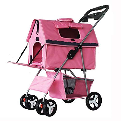MCSHGPETY Kinderwagen voor huisdieren Levert Kinderwagen voor huisdieren Hond Kat Duwstoel 4 Wieltjes Kleine Reizen Draagbare Vouwfiets Jogger Pushchair Hond Fiets Trailers Trolley, roze