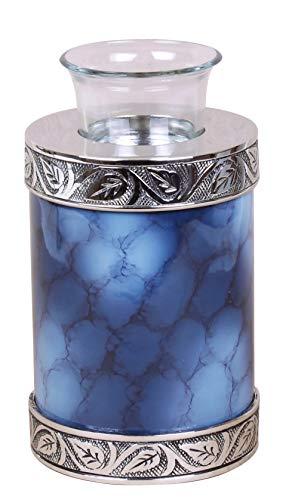 Kleine Urne für Asche, Kinderbeerdigung, Gedenk-Teelicht, Kerze, Haustier- oder menschliche Asche, Teelicht-Urne (blau bewölkt)