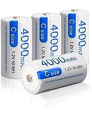 CITYORK Oplaadbare C-Batterijen 4000 mAh 1,2 V Ni-MH Hoge Capaciteit Hoge Capaciteit C-Batterij C-Cel Oplaadbare Batterijen (4 Stuks)