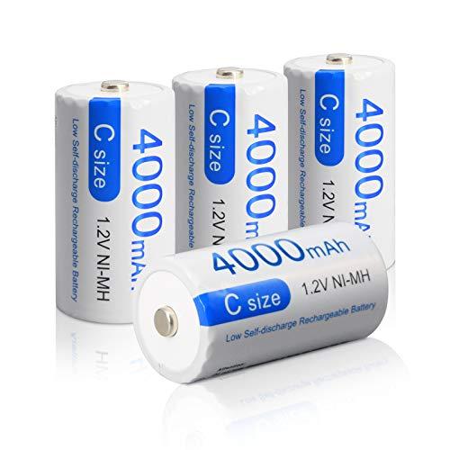 CITYORK Batterie Ricaricabili C 4000 mAh 1,2 V Ni-MH ad alta Capacità Batteria ad alta Velocità Formato C Batterie Ricaricabili a Celle C (Confezione da 4)