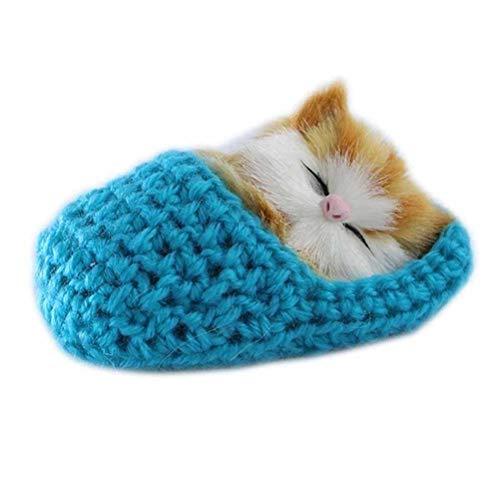 SUPVOX Plüsch Katze in Hausschuhe Baby Plüschtier Kuscheltier Stofftier Weihnachten Geschenk für Mädchen Jungen Kinder Haustier Katzenspielzeug (Blau)